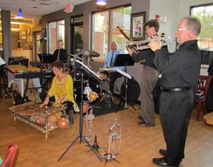 At Omikoshi: Linda Rose on gyil with Chester Thompson on drums