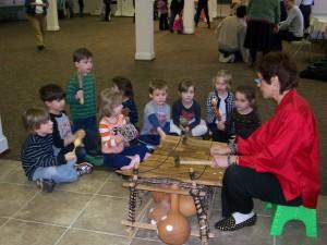 Demonstrating the gyil to preschoolers 2014